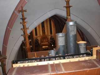 Blick von den Chamaden in das Kirchenschiff